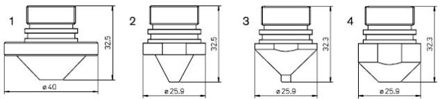 Tehnička ilustracija AMADA dizni za lasersko sečenje (u ponudi je komplatan raspon elemenata)