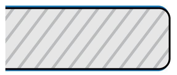 Poprečni presek nakon obrade - plavim: zaštitni sloj - folija.